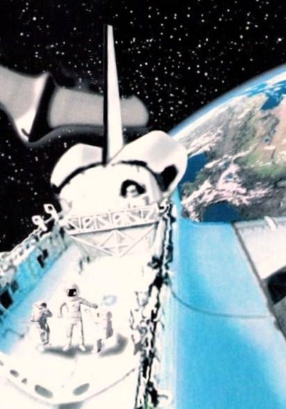 Setk�n� astronaut� s E. T. (grafick� reprodukce)